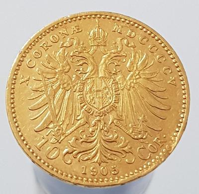 Zlatá rakouská 10 koruna 1905 moc pěkná ve sbírkovém stavu !!
