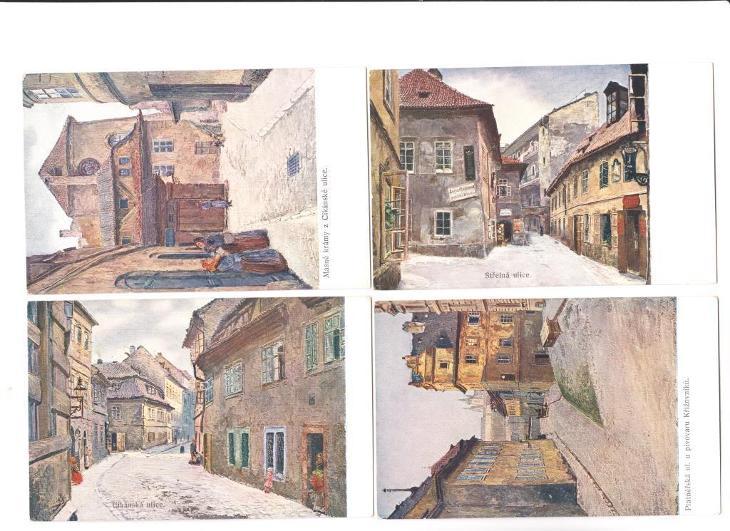 Sada pohledů Stará Praha, dle malíře J. Minaříka, ze 40ti kusů 5 chybí - Pohlednice