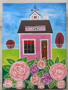 Domeček v růžové zahradě - autorská malba akrylem
