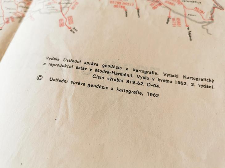 Mapa autobusových tratí Východočeského kraje 1962  - Ostatní