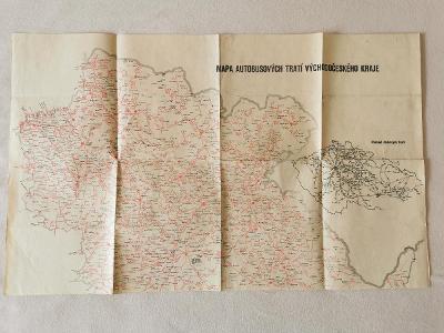 Mapa autobusových tratí Východočeského kraje 1962