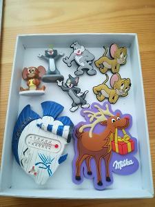 2 figurky + 4 ozdoby Tom a Jerry + 2 magnetky