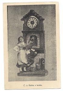 Pohlednice, reklamní, hodiny s koněm, obchodní dům, MF, 91/53