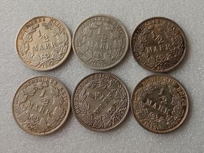 Konvolut stříbrných mincí 6x 1/2 Mark AG (2)