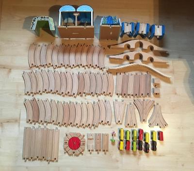 Dřevěné koleje s příslušenstvím