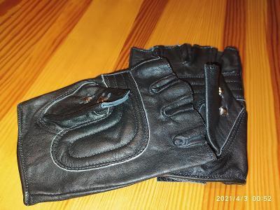 Rukavice kožené metalové bez-prsté - polstrované na dlanich v. L