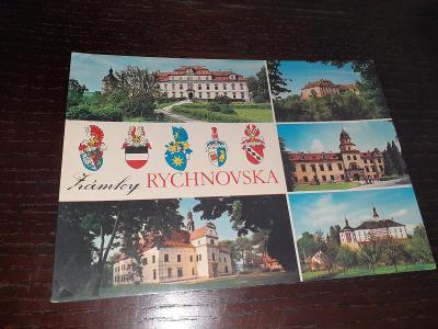 Pohlednice Zámky Rychnovska, prošlé poštou.