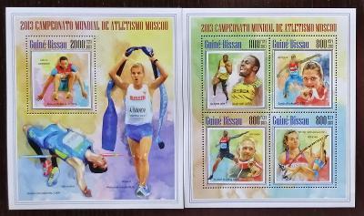 Guinea Bissau 2013 Mi.6966-9+Bl.1220 21€ Mistrovství atletiky, sport