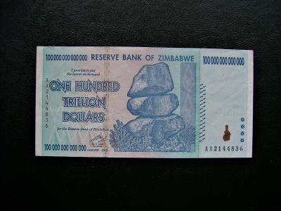 ZIMBABWE 100 TRILLION DOLLARS, NEJVYŠŠÍ VYDANÝ NOMINÁL NA SVĚTĚ!!