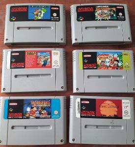 Hry SNES Nintendo Mario a Disney cartridge