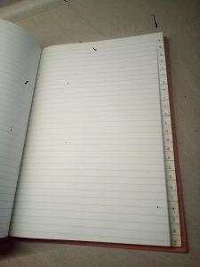 Retro sešit s tvrdými deskami, záznamní kniha, A4, oranžová s abecedou