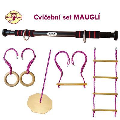 Cvičební set MAUGLÍ - hrazda do dveří se 4 závěsnými prvky