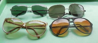 staré brýle retro, brýle proti slunci, 4 kusy