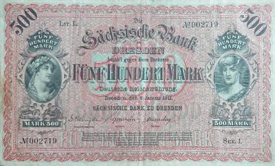 500 MARK, 1911, vzácná první série, velká bankovka, krásný stav 1 !!!
