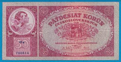 """50 Kč 1.10.1929 , neperf., série """"Oa"""""""