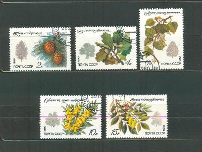 SSSR 1980, Chráněné stromy a keře, 5 ks, Mi  5002-06, ražené