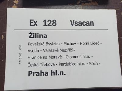 Směrová cedule ZSSK - Ex 128 VSACAN