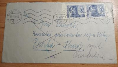 měnová reforma 12.VI.53-dopis vyfr. 2-páskou Pof.L35
