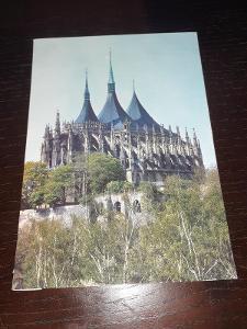 Pohlednice Kutná Hora  - chrám Sv. Barbory, neprošlé poštou, popsané.