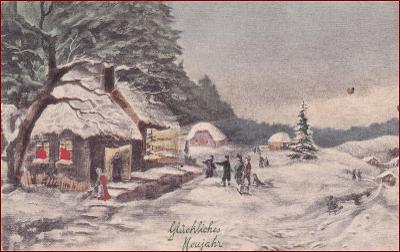 Nový rok * chalupa, lidé, krajina, zimní motiv, gratulační * M1342