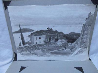 Obraz - Dům u pobřeží - akvarel !!!