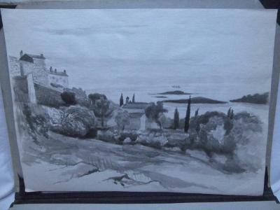 Chorvatsko - pobřeží - akvarel - obrázek v aukci !!!