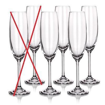 Sada skleniček na šampaňské Degustation Crystal 220 ml - Nekompletní