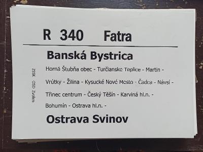 Směrová cedule ZSSK - R 340 FATRA