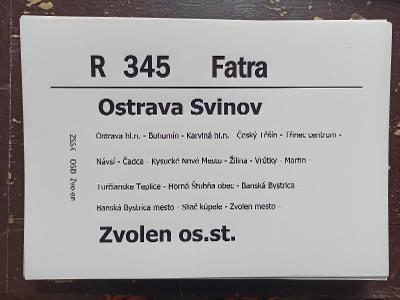 Směrová cedule ZSSK - R 345 FATRA