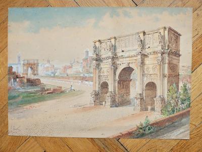 MARTIN JOHN (1789-1854) ROME ŘÍM FÓRUM 1820-40 AKVAREL AUKČNÍ !!!