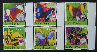 Guinea Bissau 2004 Mi.2727-2 9,5€ Motýli a orchideje, květiny a hmyz