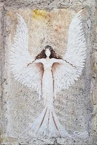 Anděl  - olej na plátně + reliéf  - 30x20cm - originální obraz