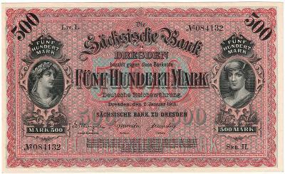 500 MARK, 1911, série II, velká bankovka, krásný stav aUNC !!!