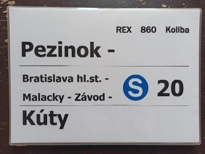 Směrová cedule ZSSK - REX 860 KOLIBA
