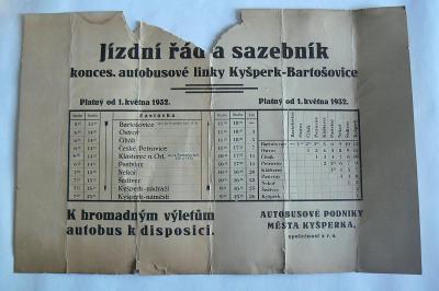 STARÝ AUTOBUSOVÝ JÍZDNÍ ŘÁD A SAZEBNÍK - 1932