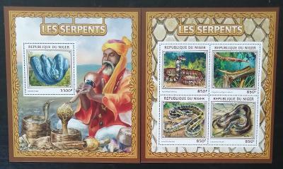 Niger 2016 Mi.4507-0+Bl.606 26€ Afričtí hadi, plazi a fauna