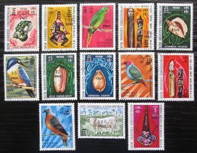 Nové Hebridy, Vanuatu 1977 Přetisky TOP SET Mi# 447-59 Kat 85€ 0136
