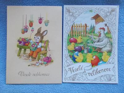 Malovaná pohlednice  koláž Velikonoce malování kraslic