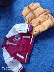 Jarní bunda a vesta na kluka 9-12 měs.vel.80