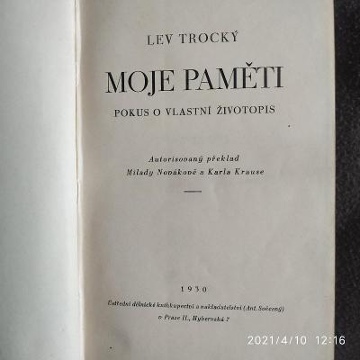 Lev Trocký: Moje paměti, pokus o vlastní zivotopis