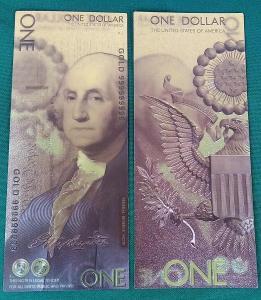 USA 1$ dolar 2018 Andrey Avgust design dollars Zlatá bankovka fólie