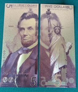 USA 5$ dolar 2018 Andrey Avgust design dollars Zlatá bankovka fólie