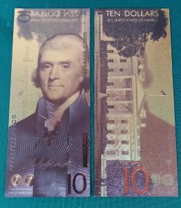 USA 10$ dolar 2018 Andrey Avgust design dollars Zlatá bankovka fólie