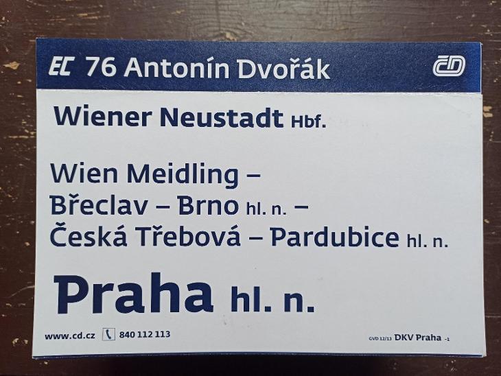 Směrová cedule EC 76/77 ANTONÍN DVOŘÁK - Ostatní