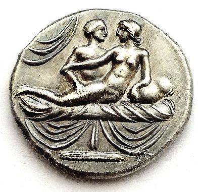 Stříbrná novoražba římského erotického žetonu/spintrie, Ag 999/1000