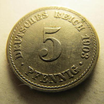 Německo, Kaiser Reich , 5 pfennig z roku 1903 F