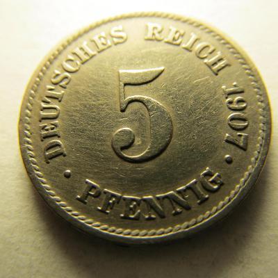 Německo, Kaiser Reich , 5 pfennig z roku 1907 E