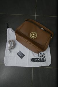 Hnědá kožená kabelka Moschino