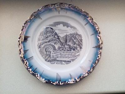 Porcelánový paměťný ozdobný talíř Miterteich Bawaria Německo