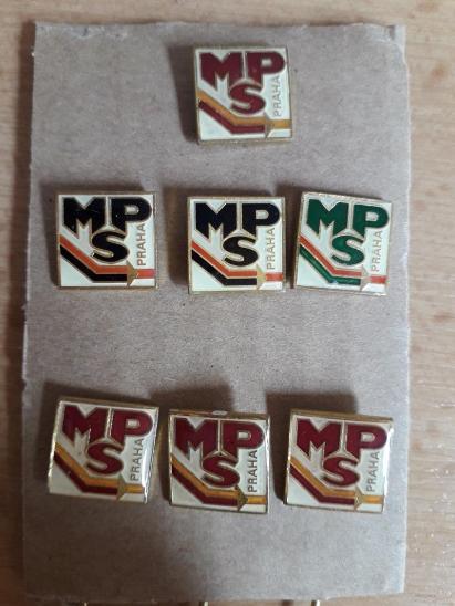 Odznaky nalezené na půdě - MPS Praha - 7 kusů - Faleristika